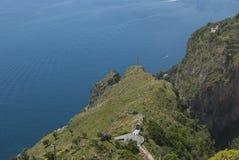 Szczegółu Amalfi wybrzeża krajobrazowy widok od Agerola wioski Zdjęcia Royalty Free