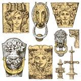 Szczegółu antyczny klasyczny budynek architektoniczni ornamentacyjni elementy pokazywać toskanki, Doric, Jońskiej i Romańskiej ko Obraz Royalty Free