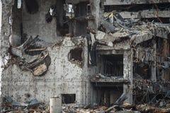 Szczegółu widok Donetsk lotniskowe ruiny zdjęcie stock