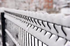 Szczegółu wizerunek aluminiowy stalowego pręt ogrodzenie zakrywający z śniegiem Fotografia Royalty Free
