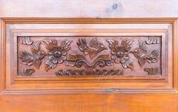 Szczegóły świetny drewniany cyzelowania drzwi Fotografia Stock