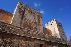 Szczegóły Alcazaba górują, Granada, Hiszpania zdjęcie royalty free