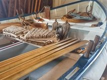Szczegóły antykwarska drewniana życia oszczędzania łódź Fotografia Stock