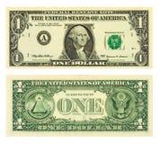 szczegóły banknotów dolar jeden Obrazy Stock