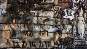 Szczegóły Devatas przy trędowatego królewiątkiem w Angkor Thom Obrazy Royalty Free