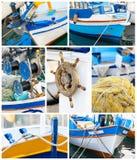 Szczegóły drewniani połowów naczynia zdjęcia royalty free