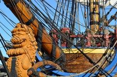 Szczegóły historyczny żagla statek Zdjęcia Royalty Free