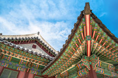 Szczegóły Koreańska Tradycyjna dekarstwo architektura w Changdeokgung pałac Zdjęcie Royalty Free