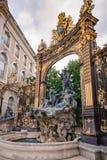 Szczegóły miasto kwadrat w Nancy z swój złotym fo i ogrodzeniem Zdjęcie Royalty Free