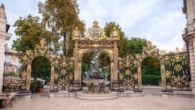 Szczegóły miasto kwadrat w Nancy z swój złotym fo i ogrodzeniem Obrazy Royalty Free