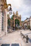 Szczegóły miasto kwadrat w Nancy z swój złotym fo i ogrodzeniem Fotografia Royalty Free