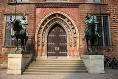 Szczegóły od Rathaus, urzędu miasta w Bremen ` s Marktplatz Starych/ Zdjęcia Royalty Free