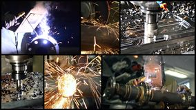 szczegóły przemysłowego Kolaż wliczając mieleń ludzi przy pracą i maszyn zdjęcie wideo