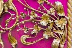 Szczegóły, struktura i ornamenty żelazny malleation, Kwiecisty dekoracyjny ornament, robić od metalu Rocznika kruszcowy wzór Deco Obrazy Royalty Free