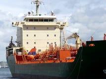 Szczegóły tankowa statku pokład, łęk i aft część, Horyzontalny trzyćwierciowy frontowy widok Fotografia Stock