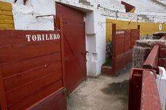 Szczegóły wnętrze bullring Guadalajara, Hiszpania zdjęcie stock