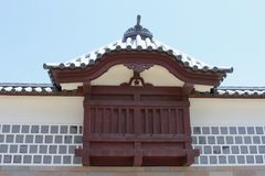 Szczegóły zadaszają dekoraci Kanazawa antycznego kasztel, Japonia Obrazy Royalty Free