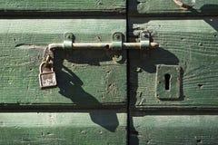 Szczegół antyczny drewniany drzwi Obrazy Royalty Free