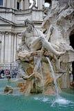 Szczegół fontanna Cztery rzeki w Rome Fotografia Stock