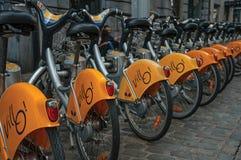 Szczegół jawni bicykle w ulicach Bruksela Zdjęcie Stock