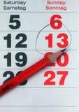 Szczegół kalendarzowa seans data Fotografia Royalty Free