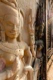 Szczegół kamienny encarving Apsara Zdjęcie Stock