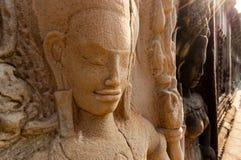 Szczegół kamienny encarving Apsara Zdjęcie Royalty Free