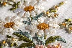 Szczegół kwiecista broderia na tkaninie Zdjęcia Royalty Free