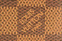 Szczegół LV rzemienna torba pokazuje luksusowego Louis Vuitton Pari Obraz Stock