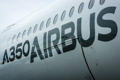 Szczegół nowy samolotowy Aerobus A350 XWB Obrazy Stock