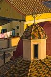 Szczegół od Cagliari w centrum linii horyzontu przy zmierzchem w Sardinia Zdjęcia Royalty Free