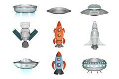 Szczegółowa kolekcja statki kosmiczni w mieszkanie stylu ilustracja wektor