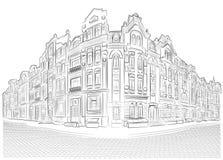 Szczegółowi starzy budynki na rogu ulicy Obraz Stock