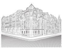 Szczegółowi starzy budynki na rogu ulicy Zdjęcia Royalty Free