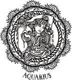 Szczegółowy Aquarius w aztec stylu Zdjęcia Royalty Free
