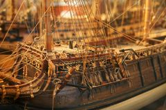 szczegółowy masztu stary model statku Obraz Royalty Free