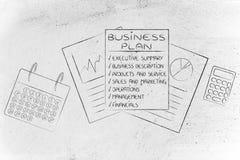 Szczegółowy plan biznesowy z stats dokumentami, kalendarz, calculato Obrazy Stock