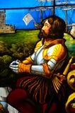 Szczegół przedstawia Vasco Da Gama plamy szklany okno Obraz Stock