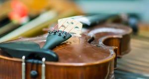 Szczegół skrzypce Zdjęcia Royalty Free