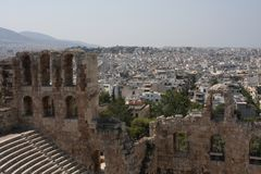 Szczegóły Antyczny Odeon Herodes Atticus w Ateny, Grecja na akropolu wzgórzu Obraz Stock