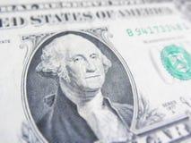 Szczegóły jeden dolarowy rachunek, George Washington w przedpolu Obrazy Royalty Free