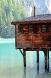 Szczegóły typowi stilt domu braies Jeziorni Zdjęcia Royalty Free