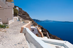 Szczegół architektura w zadziwiać Oia miasteczko na wyspie Santorini w Grecja Zdjęcie Stock