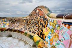 Szczegół ławka Gaudi w Parc Guell. Fotografia Royalty Free