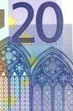Szczegół 20 euro banknot Fotografia Stock