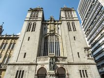 Szczeg?? fasada monaster St Benedykt i ko?ci?? Nasz dama wniebowzi?cie, w Sao Bento kwadracie, w centrum Sao Paul zdjęcia stock