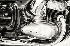 Szczegół weterana motocykl, spotyka rowerzystów, czarny i biały Obrazy Stock