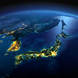 Szczegółowa ziemia Część Azja, Japonia i Korea, Japoński morze na a Obrazy Stock