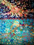 Szczegóły na antykwarska Arabska ręka wyplatającym wełna dywanie Zdjęcia Stock