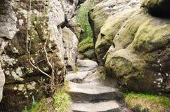 Szczeliniec Wielki in Gory Stolowe mountains, Poland. Path among the rocks in Szczeliniec Wielki in Gory Stolowe (Table Mountains), Poland Stock Photo